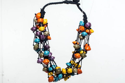 Bright paper bead necklace