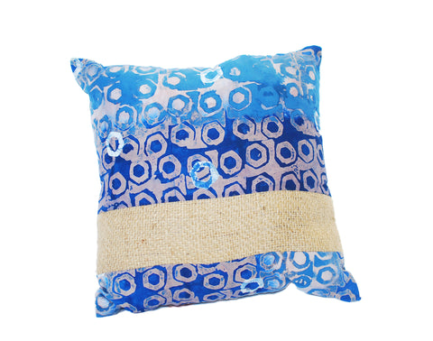 Burlap and batik pillow