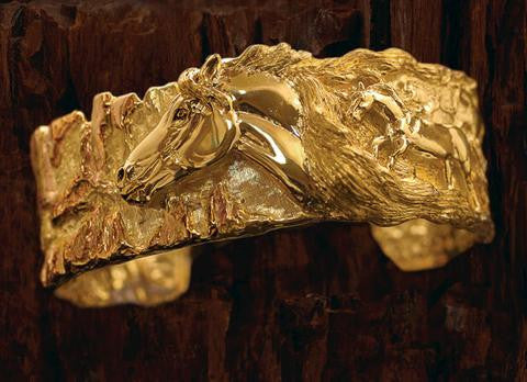 Limited Edition 18k gold Wild Horses Bracelet. number 3 of 3 Handcrafted By Lesley Rand Bennett