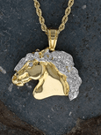 Baroque Horse Head Pendant 18k with Diamond Mane and Eye - Bennett Fine Jewelry