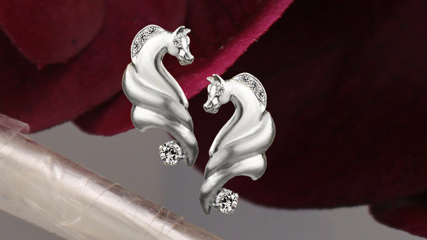 White gold horse earrings with diamonds 924 by Lesley Rand Bennett