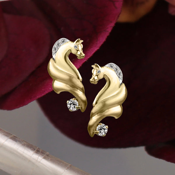 Yellow gold horse earrings with diamonds 924 by Lesley Rand Bennett