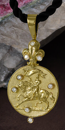 Joan of Arc pendant Copyright and design by Lesley Rand Bennett