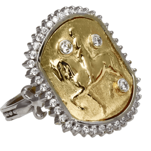 Joan of Arc on Her Charger 14K Gold and Diamond Ring - Bennett Fine Jewelry