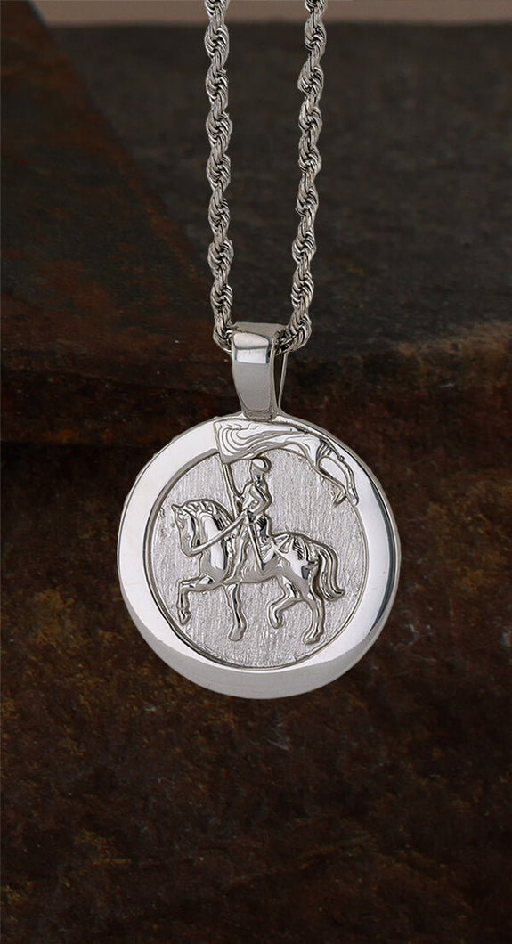 Joan of Arc Necklace Pendant 1489L in white gold by Lesley Rand Bennett