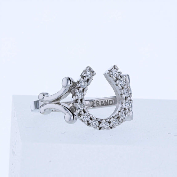 New classic diamond horseshoe rings by Lesley Rand Bennett. Pictured is ring in white gold.