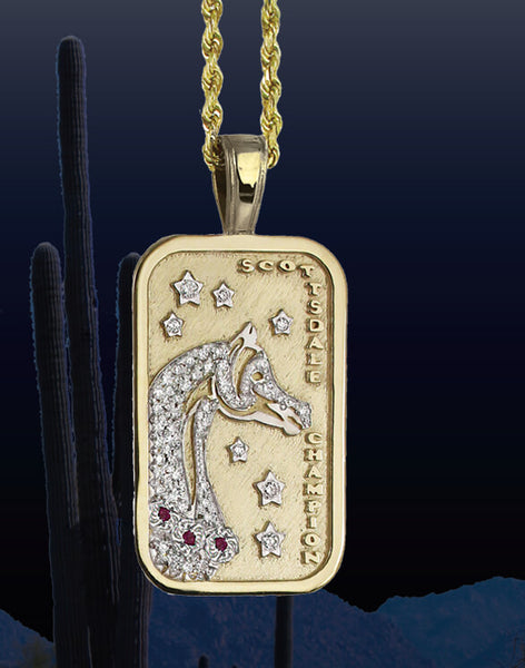 Scottsdale Arabian Horse Show Pave Champion Tag Pendant in 14k yellow gold by Lesley Rand Bennett