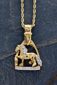 Friesian Horse Stirrup Pendant in 14k yellow gold with diamonds by lesley Rand Bennett