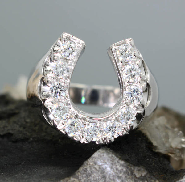 Mens Large Diamond Horseshoe Ring with 1.33 c.t.w. - Bennett Fine Jewelry