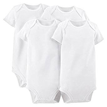 White Short Sleeve Baby Bodysuit Premie (4 Pack)