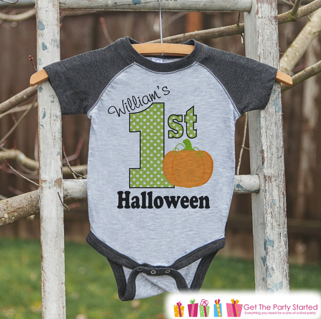 1st Halloween Outfit - Girls or Boys My First Halloween Outfit - Grey Raglan Tshirt or Onepiece - My 1st Halloween - Kids Halloween Costume