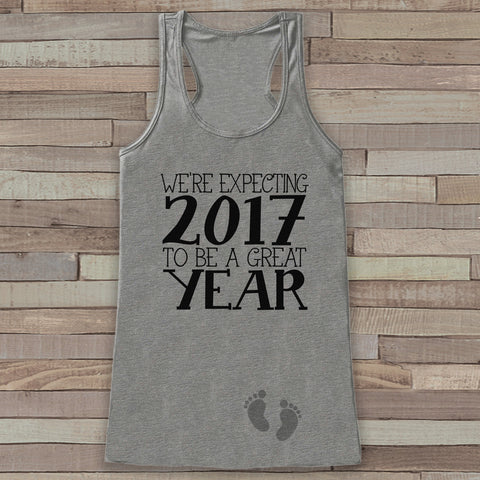 We're Expecting Tank Top - Baby Feet Shirt - Womens Tank Top - Happy New Year Tank -  Grey Tank - Pregnancy Announcement - Baby Reveal Idea - Get The Party Started