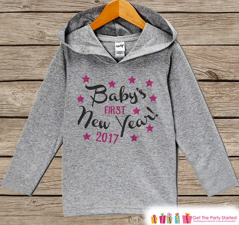 Baby's First New Year Outfit - Happy New Years - Personalized Kid Hoodie - Baby New Year's Outfit - Hoodie for Baby Girls - Grey Pullover - Get The Party Started