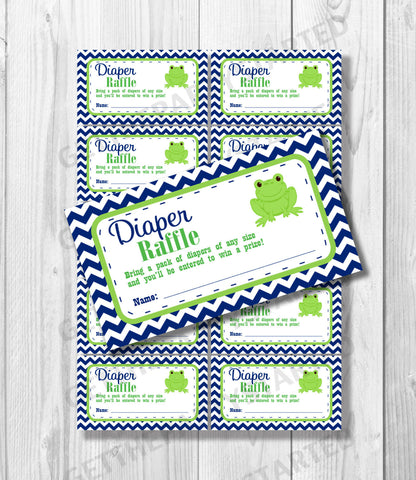 DIAPER RAFFLE TICKETS - Printable Baby Shower Raffle Tickets - Frog Baby Shower - Instant Download - Navy and Green Frog Shower Games - Get The Party Started