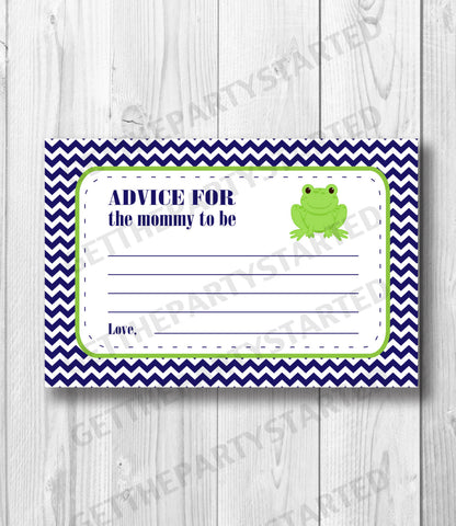 ADVICE CARDS - Printable Advice for the New Mom Cards - Frog Baby Shower - Instant Download - Frog Advice Cards - Navy & Green Frog Shower - Get The Party Started