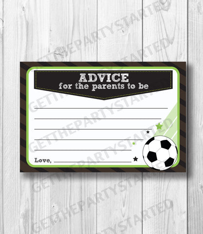 ADVICE CARDS - Printable Advice for the New Mom - Soccer Baby Shower - Instant Download - Soccer Cards - It's a Boy Sports Baby Shower - Get The Party Started