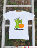 First Halloween Shirt - Halloween Onepiece - Baby's First Halloween With Pumpkin and Child's Name - Baby Boy's My First Halloween Outfit - Get The Party Started
