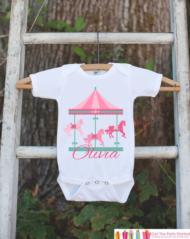 Carousel Birthday Outfit - Novelty Baby Shower Gift or Birthday Party Outfit - Pink Baby Girl Onepiece - Infant Newborn Horse Shirt Bodysuit - Get The Party Started