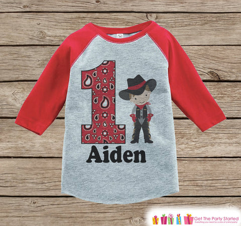 Boy's Birthday Outfit - Cowboy Birthday Shirt - Onepiece or Tshirt - First Birthday Outfit - Red Raglan Birthday Shirt - 1st Birthday Top - Get The Party Started