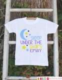 Girl's Under the Stars Outfit - White Shirt or Onepiece - Custom T-Shirt - Camping T Shirt for Baby, Toddler, or Youth - Adventure Clothing
