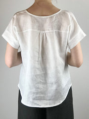 100% Linen Short Sleeve Blouse