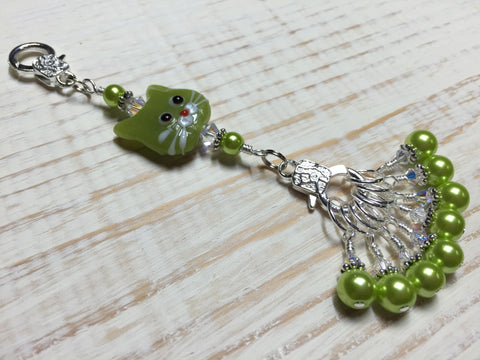 Lime Green Cat Knitting Lanyard , Stitch Markers - Jill's Beaded Knit Bits, Jill's Beaded Knit Bits  - 1