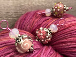 Pink Lampwork Glass Snag Free Stitch Markers | Gifts for Knitters