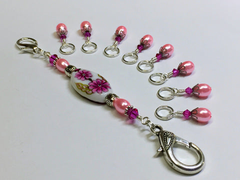 Handpainted Pink Flower Knitting Bag Lanyard , Stitch Markers - Jill's Beaded Knit Bits, Jill's Beaded Knit Bits  - 1