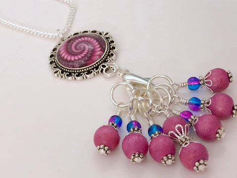 Pink Swirl Stitch Marker Necklace | Gifts for Knitters | 7 Snag Free Markers | Choose Leather Cord or Silver Chain
