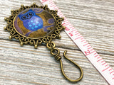 Blue Night Owl Magnetic Portuguese Knitting Pin | Gift for Knitters | PLUS Matching Stitch Markers