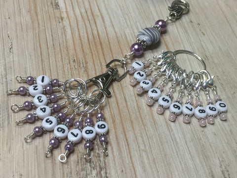 0 to 99 Numbered Row Counter System with Beaded Lanyard Holder- Numbered Piggyback Stitch Markers - Snag Free Row Counters- Knitting Gift ,  - Jill's Beaded Knit Bits, Jill's Beaded Knit Bits  - 1