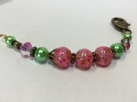 Pink and Green Scissor Fob, Zipper Pull, or Beaded Keychain Charm , Accessories - Jill's Beaded Knit Bits, Jill's Beaded Knit Bits  - 1