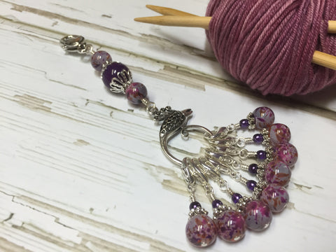 Purple Speckle Lanyard with Removable Crochet Markers , Stitch Markers - Jill's Beaded Knit Bits, Jill's Beaded Knit Bits  - 1