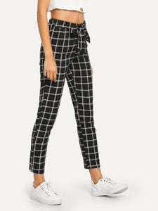 Knot Front Plaid Pants