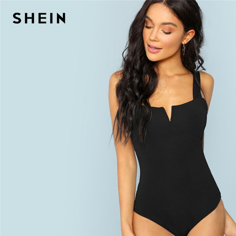 SHEIN Black Front,  V-Cut Minimalist Bodysuit with Sexy Straps,  Sleeveless, Bodysuits