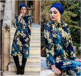 Blue Floral Print Autumn Winter Tunic/ Dress