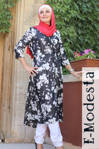 Black and White Chiffon Long Tunic