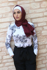 High Collar Crochet Lace Black Floral Blouse