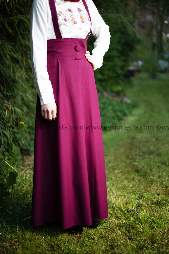 High Waist Skirt | with Removable Shoulder Belt | Color Burgundy