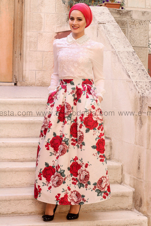 Pleated floral print high quality elegant floor length skirt - Red roses