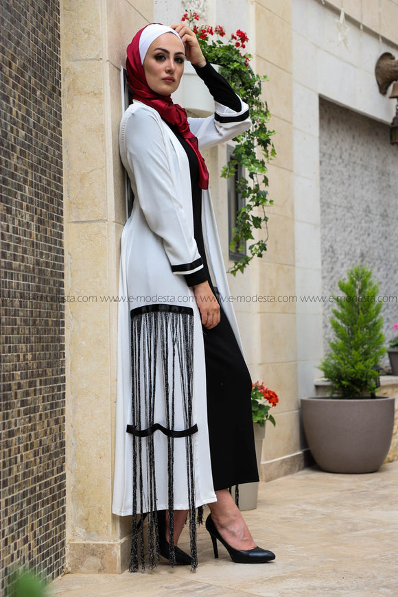 Stylish Modern Abaya with Black Stripes
