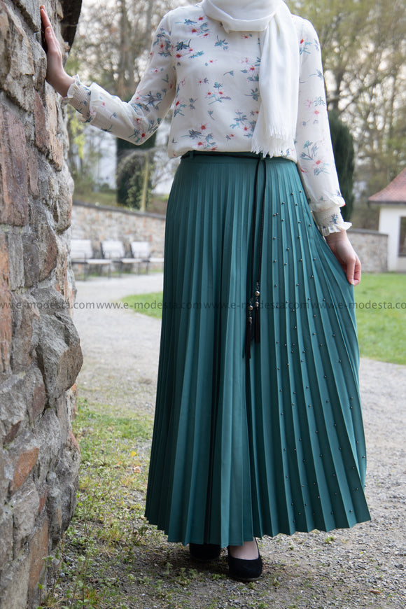 Pleated Maxi Skirt | Teal Blue Color | Pearls on One Side