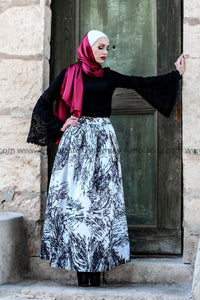 Branched Black & White Ball Gown Skirt Look