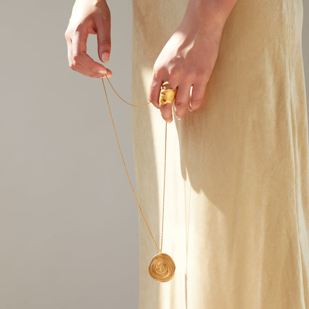 The Swirling Eddy Pendant (22ct Gold Vermeil) Pascale James Jewellery