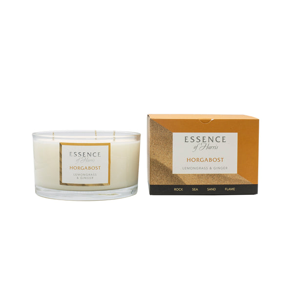 Essence of Harris soy wax 3 wick glass candle with matching orange Horgabost candle box