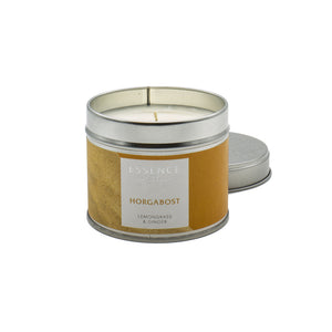 Silver tin single wick candle with orange Essence of Harris Horgabost label