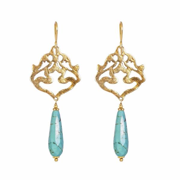 Flamingo Earrings - Gold & Turquoise