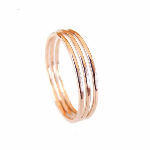 Thin Hammered Rose Gold Filled Ring WHOLESALE