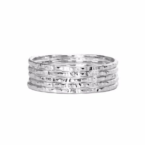 Thin Hammered Pure Silver Ring WHOLESALE