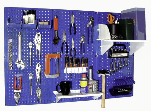 4' Metal Pegboard Standard Tool Organizer Kit with Accessories - Blue/White
